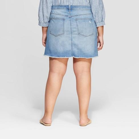 85f1ef1ca2 Women s Plus Size Destructed Denim Mini Skirt - Universal Thread™ Light Blue