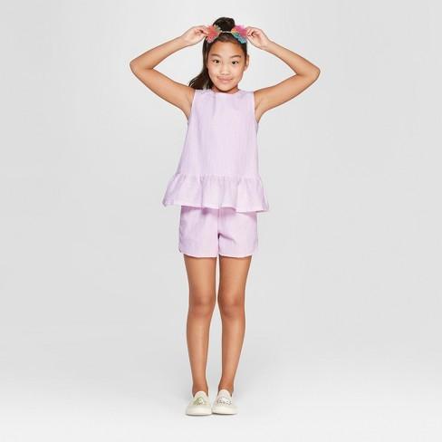Girls' 2pc Larex Top and Bottom Set - Cat & Jack™ Purple XS - image 1 of 3