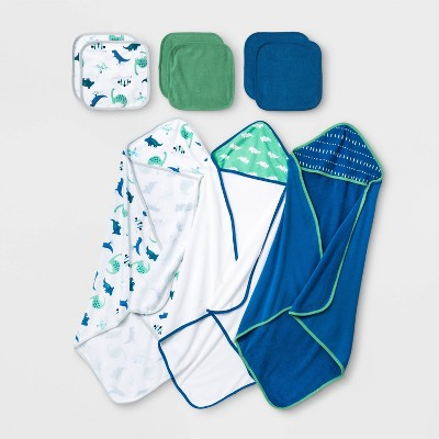 Baby Boys' 9pk Dino Hooded Bath Towel and Washcloth Set - Cloud Island™ Blue