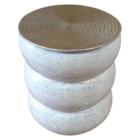 Tempered Metal Circle Vase Side Table - White - Jeffan - image 1 of 4