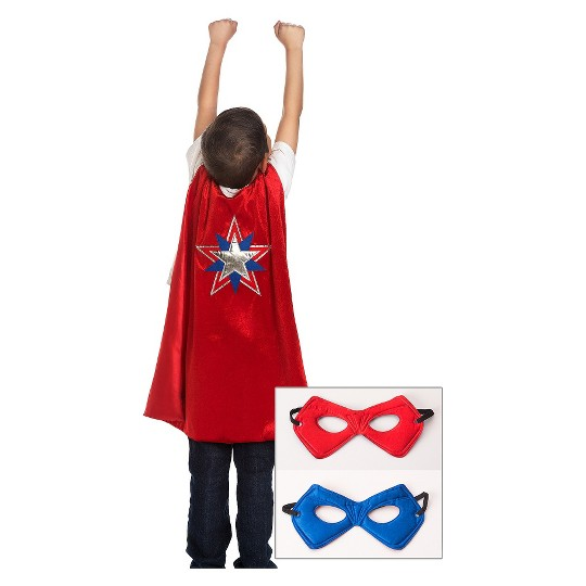 Little Adventures Boys' American Hero Cape and Power Mask - Red/Blue image number null