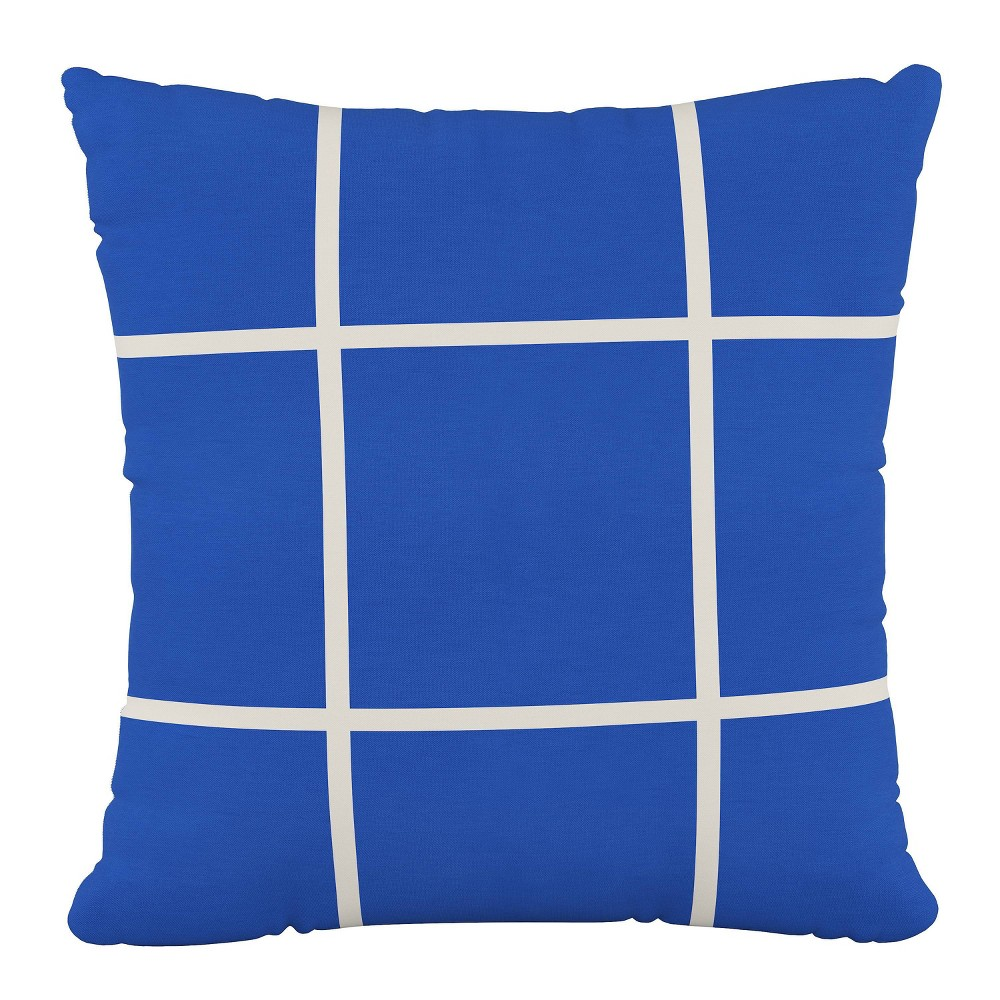 """Image of """"18""""""""x18"""""""" Polyester Pillow in Grid Blue - Cloth & Company"""""""