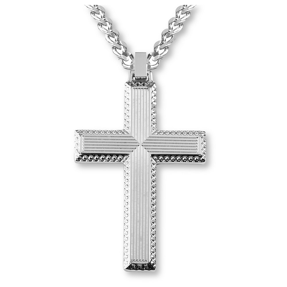 Men's Crucible Stainless Steel Textured Cross Pendant, Silver