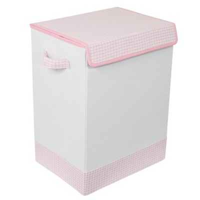 BirdRock Home Baby Clothes Hamper with Lid Pink and White