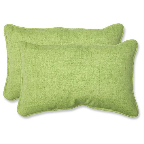 'Outdoor 2-Piece Lumbar Toss Pillow Set - Green 18'''