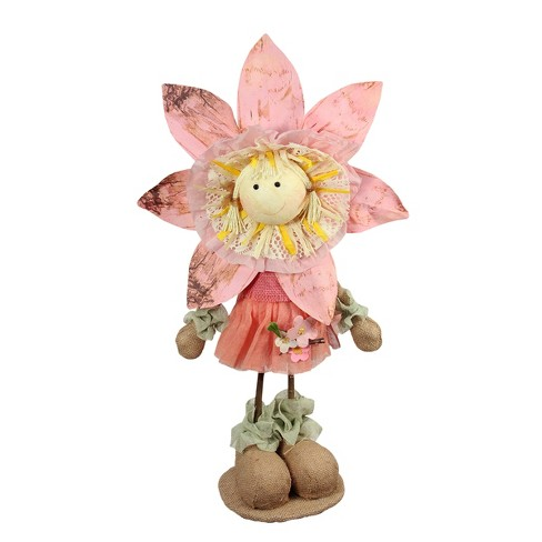 "Northlight 21.5"" Pink, Tan and Light Green Spring Floral Standing Sunflower Girl Decorative Figure - image 1 of 1"