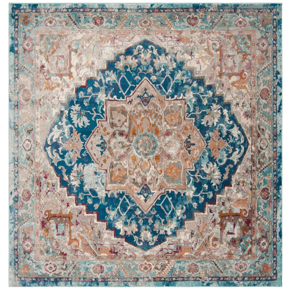 6 5 X6 5 Loomed Medallion Square Area Rug Blue Safavieh