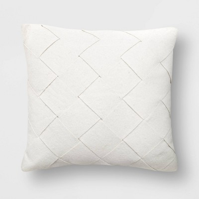 Basket Weave Square Throw Pillow Cream - Project 62™