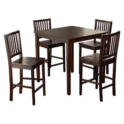 5 Piece Shaker Counter Height Set Wood/Espresso   TMS