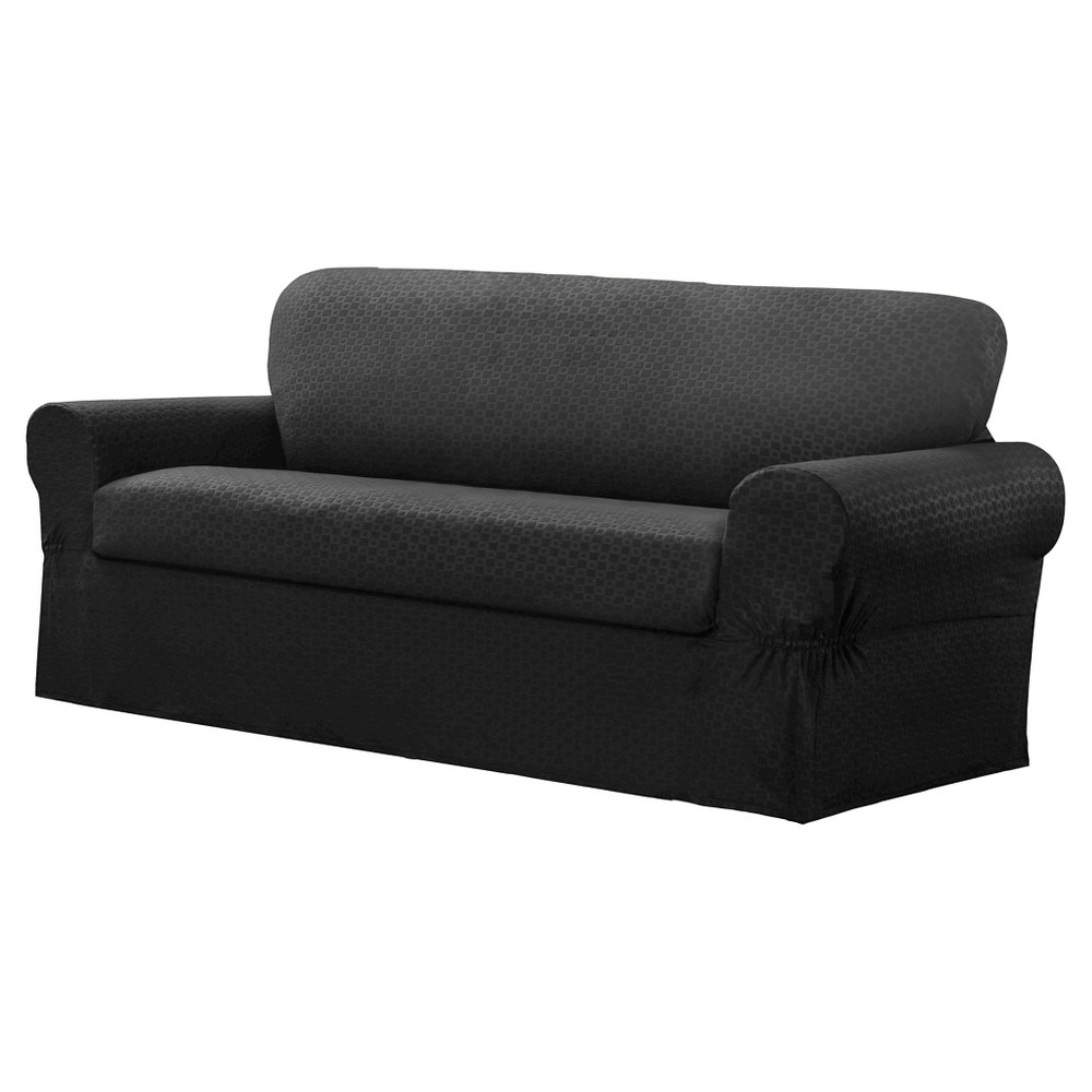 Image of Charcoal Conrad Loveseat Slipcover (2 Piece) - Maytex