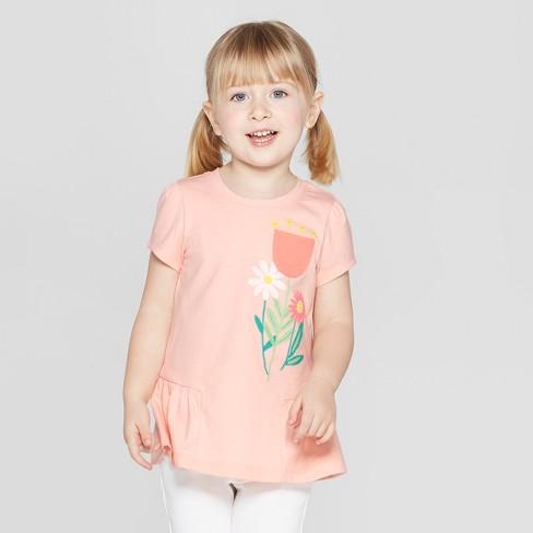 47dc9fdd09e Toddler Girls  Short Sleeve  Flower  T-Shirt - Cat   Jack™ Orange ...