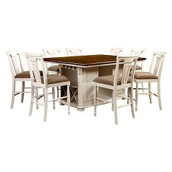 9pc Jeffron Country Storage Counter Height Table Set Cherry/White - Sun & Pine