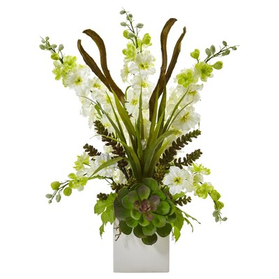 Delphinium & Succulent Arrangement White - Nearly Natural