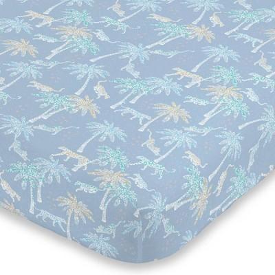NoJo Watercolor Tropical Cheetah Mini Crib Sheet