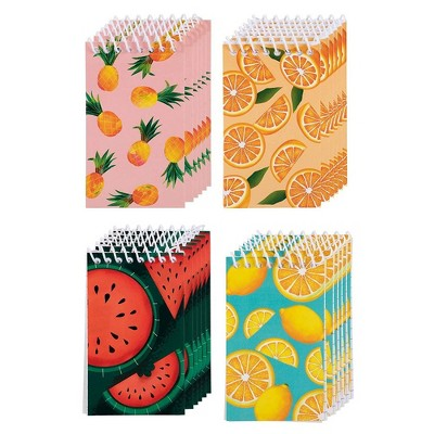 Juvale Mini Spiral Notebooks with 4 Fruit Designs (3 x 5 Inches, 24-Pack)