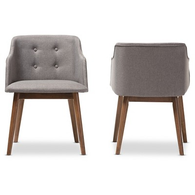 Harrison Mid Century Modern Gray Fabric U0026 Walnut Brown Wood Button  Tufted Accent  Chairs (Set Of 2)   Baxton Studio : Target
