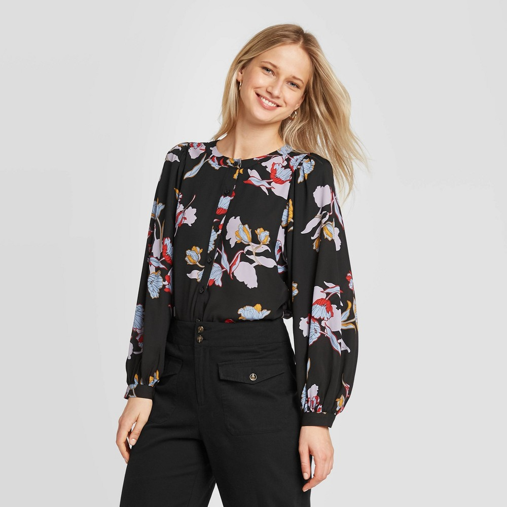 Women's Floral Print Balloon Long Sleeve Blouse - Who What Wear Black XXL, Women's was $29.99 now $20.99 (30.0% off)
