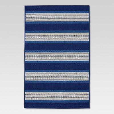 5' x 7' Bold Stripe Outdoor Rug Blue - Threshold™