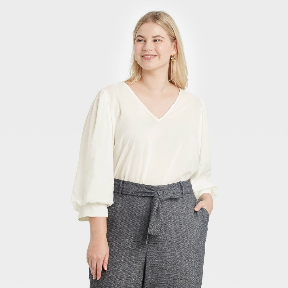 Women 39 S Plus Size 3 4 Sleeve Voile Top A New Day 8482 Cream 2x