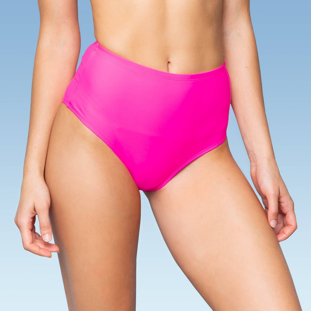 Image of Women's Highwaist Bikini Bottom - Sugar Coast By Lolli Solid Pink M, Women's, Size: Medium