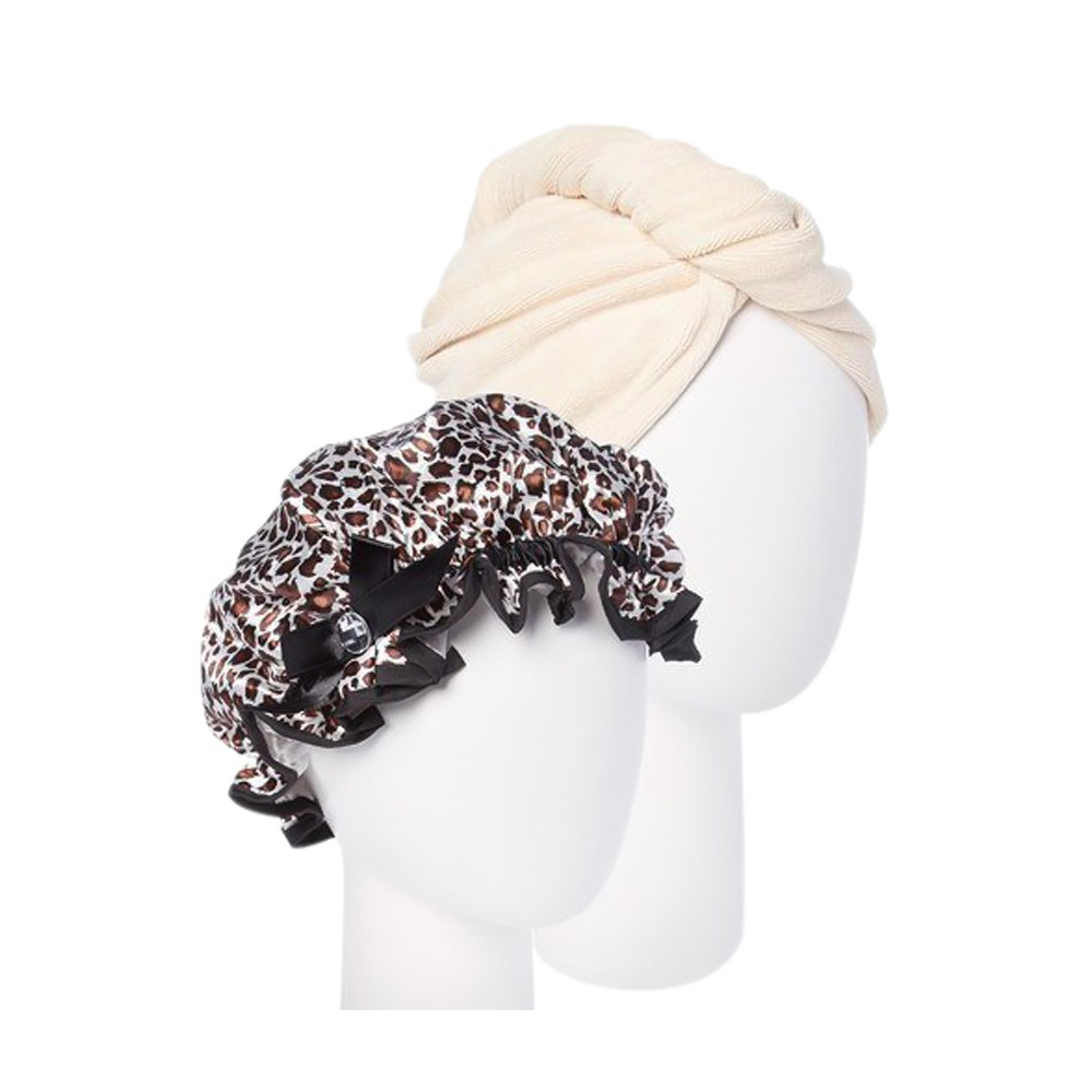 Image of Turbie Twist Cream Microfiber Hair Towel and Leopard Shower cap