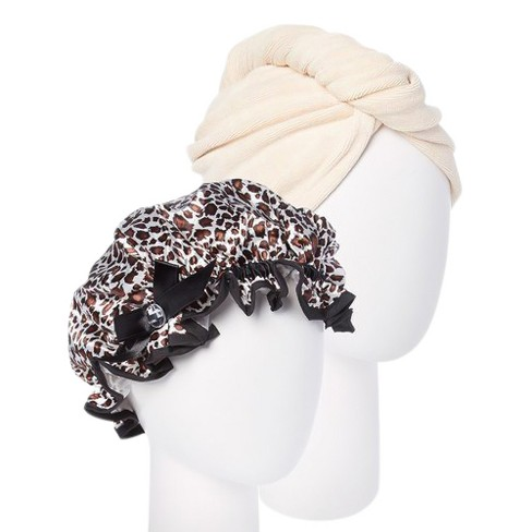 Turbie Twist Cream Microfiber Hair Towel And Leopard Shower Cap