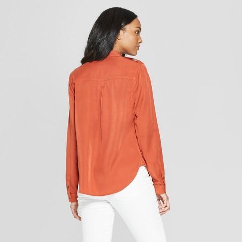 9bc79ef4 Women's Long Sleeve Collared Button-Down Shirt - Universal Thread™ Orange  XXL : Target