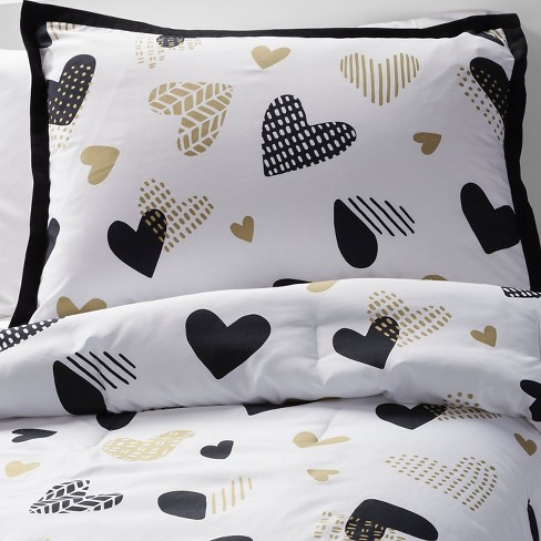 Hello Hearts Comforter Set Blackwhite Pillowfort Target