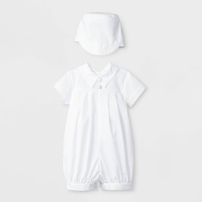 Baby Boys' Pleated Baptism Romper with Hat - Small World White 6-9M