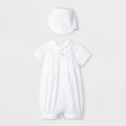 Baby Boys' Pleated Baptism Romper with Hat - Small World White - image 1 of 1