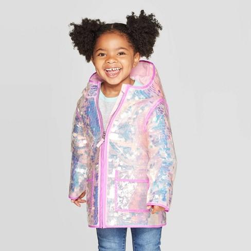Toddler Girls' Sequin Rain Coat - Cat & Jack™ Pink - image 1 of 3