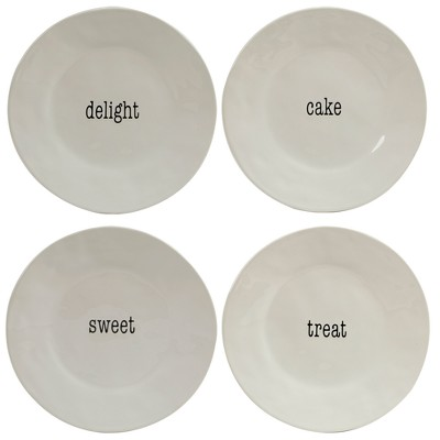 "Certified International It's Just Words Ceramic Dessert Plates 9"" White - Set of 4"