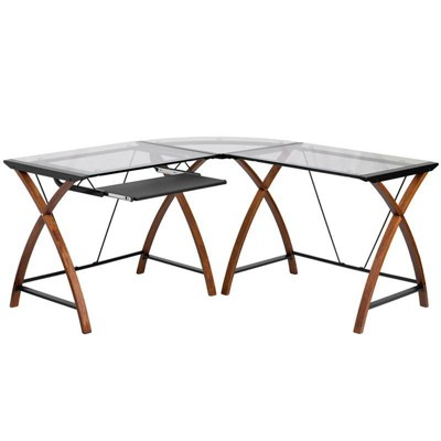 Glass L Shape Desk With Pull Out Keyboard Tray   Flash Furniture