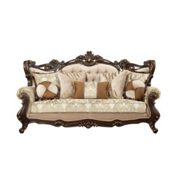 Traditional Style Wooden Sofa with 7 Pillows Brown - Benzara