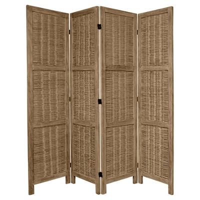 5 1/2 ft. Tall Bamboo Matchstick Woven Room Divider - Burnt Gray (4 Panel)