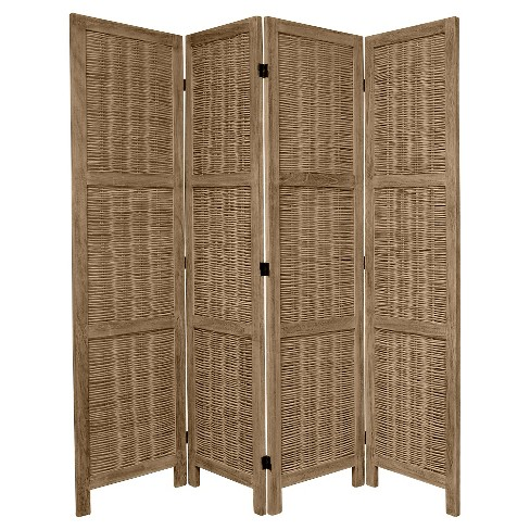 5 1/2 ft. Tall Bamboo Matchstick Woven Room Divider - Burnt Gray (4 Panel) - image 1 of 1