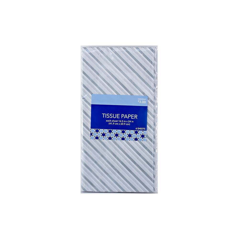 Image of Hanukkah Tissue Paper Silver Gray and White Striped