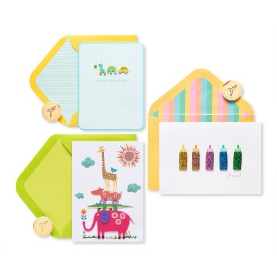 3ct Cards Jungle Bottles and Blocks Baby - PAPYRUS