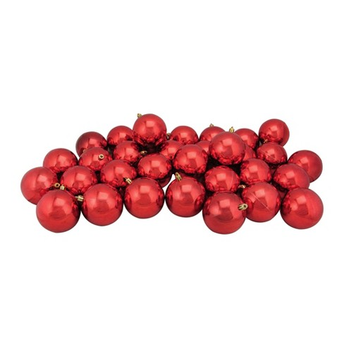 Red Christmas Ball Ornaments.Northlight 96ct Shatterproof Shiny Christmas Ball Ornament Set 3 25 Red