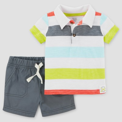 Baby Boys' 2pc Thick Stripe Polo Set - Just One You™ Made by Carter's® Gray 6M