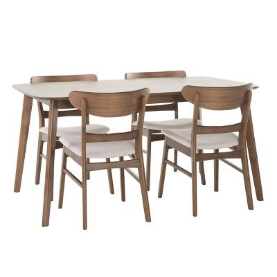 Idalia Rectangular 5pc Dining Set - Light Beige/Natural Walnut - Christopher Knight Home