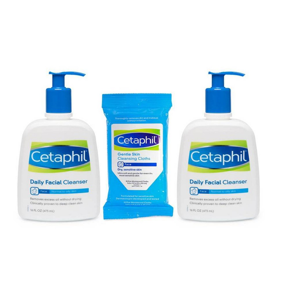 Image of Cetaphil Daily Facial Cleanser - 2ct/16oz Each with Cloth - 10ct