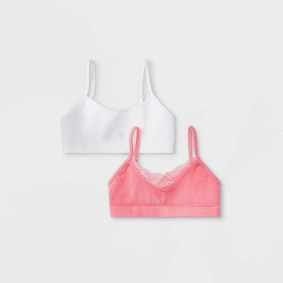 Girls' 2pk Seamless Lace Bra - Cat & Jack™ Pink