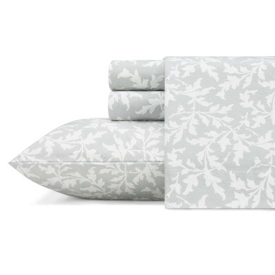Queen Printed Pattern Flannel Sheet Set Dove Gray - Laura Ashley