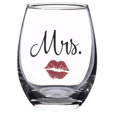 Clear  Mrs.  Wine Glass with Red Lips