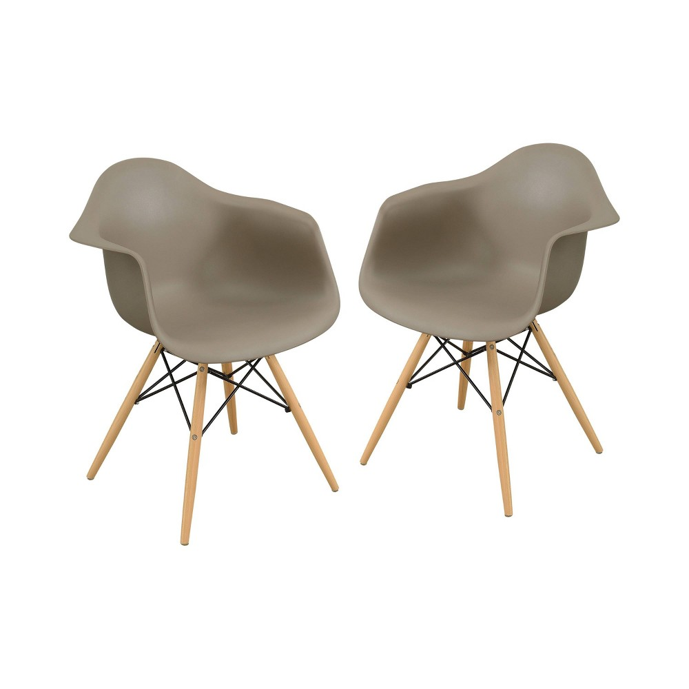 Set of 2 Harlan Contemporary Accent Chair Light Brown - Homes: Inside + Out, Taupe Brown