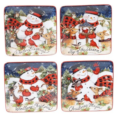 "6"" 4pk Earthenware Magic of Christmas Snowman Canape Plates - Certified International"