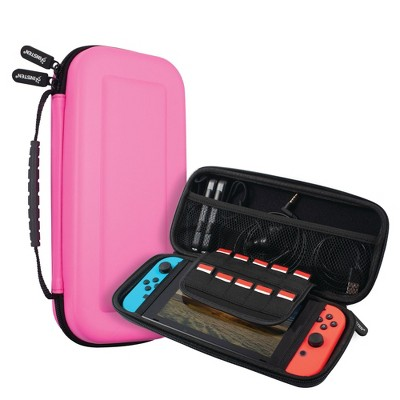 Insten Carrying Case For Nintendo Switch and OLED Model Console with 10 Game Slots and Pocket for Accessories, Protective Hard Travel Pouch, Pink