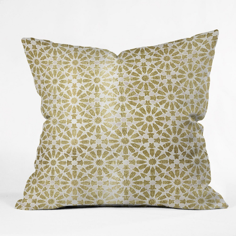 Schatzi Hara Tiles Square Throw Pillow Light Gold - Deny Designs