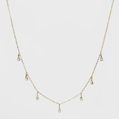 Crystal Acrylic Stone, Short Delicate Charm Drop Necklace - Wild Fable™ Bright Gold